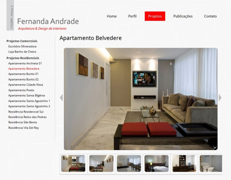 Site para Fernanda Andrade Arquitetura